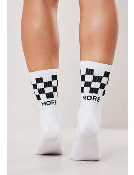 White And Black Checkerboard Socks by Missguided