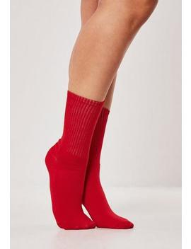 Red Sports Socks by Missguided
