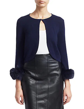 Collection Cashmere Fox Fur Cuff Cropped Cardigan by Saks Fifth Avenue
