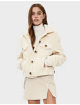 Trucker Style Jacket In Synthetic Sheepskin by Bershka