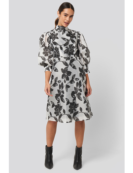 High Neck Puff Quarter Sleeve Dress Mehrfarbig by Na Kd Trend