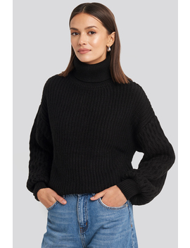 Sleeve Detailed Knitted Polo Sweater Black by Na Kd Trend