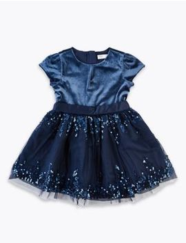 Velvet Sequin Prom Dress (3 Months   7 Years) by Marks & Spencer