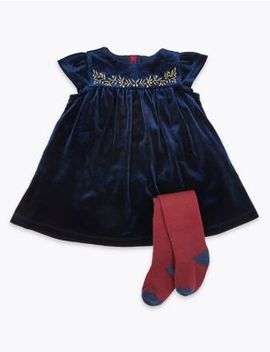 2 Piece Velvet Dress With Tights by Marks & Spencer
