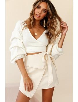 Martini Fold Over Wrap Skirt Beige by Selfie Leslie