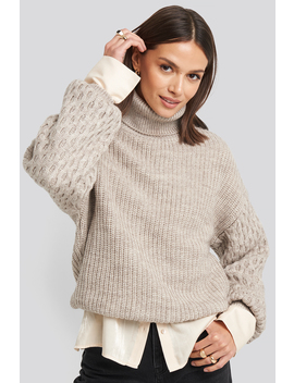 Sleeve Detailed Knitted Polo Sweater Beige by Na Kd Trend