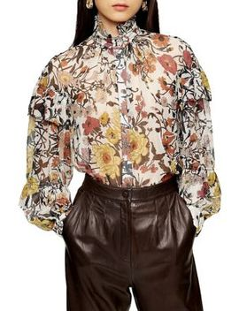 Idol Double Ruffle Floral Print Blouse by Topshop