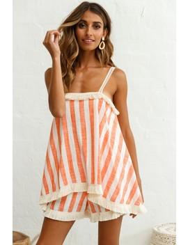 Garnet Tiered Fringe Trim Romper Stripe Print Orange by Selfie Leslie
