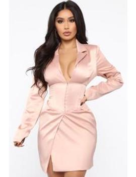 Always Werkin' Blazer Mini Dress   Blush by Fashion Nova