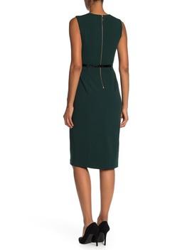 Hi Waisted Belted Sheath Dress by Modern American Designer