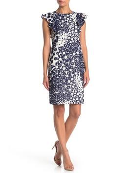 Energy Ruffle Cap Sleeve Printed Lace Dress by Trina Trina Turk