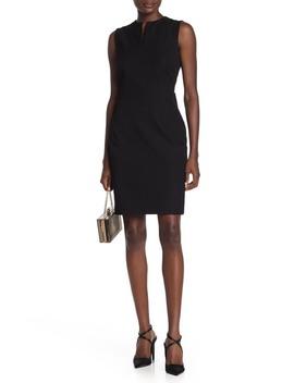 Split Neck Cotton Blend Twill Sheath Dress by Nordstrom Signature