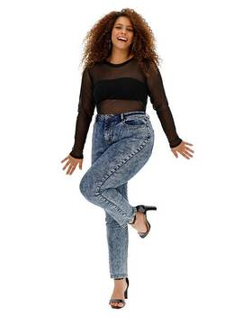 Blue Acid Wash Demi High Waist Mom Jeans by Simply Be