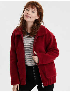 Ae Fuzzy Sherpa Bomber Jacket by American Eagle Outfitters