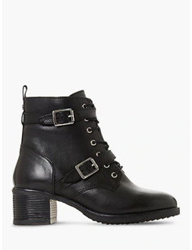 Dune Paxtone Buckle Lace Ankle Boots, Black Leather by Dune