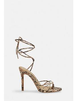 Nude Snake Print Strappy Toe Post Heeled Sandals by Missguided