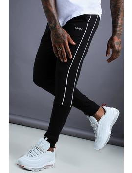 Man Tapered Jersey Jogger With Side Piping by Boohoo