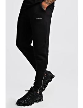 Man Signature Skinny Fit Jogger With Zips by Boohoo