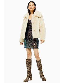 Ivory Faux Fur Coat by Topshop