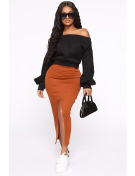 Boarding Jets Midi Skirt   Rust by Fashion Nova