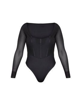 Shape Black Mesh Square Neck Binding Detail Bodysuit by Prettylittlething