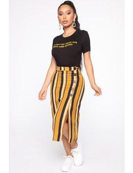 Never Ending Striped Midi Skirt   Camel by Fashion Nova