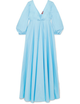 Amaretti Pleated Cotton Blend Poplin Maxi Dress by Staud