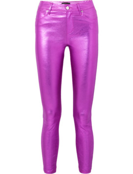 Madrid Metallic Textured Leather Slim Leg Pants by Rt A