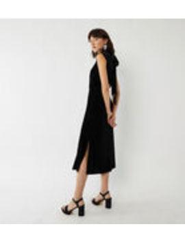 High Neck Velvet Dress by Warehouse