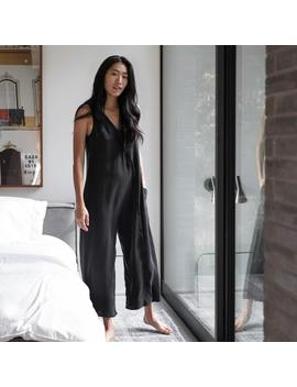 Washable Silk Double V Jumpsuit by Lunya