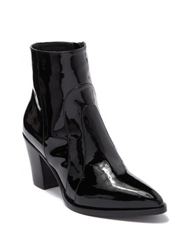 Patent Leather Block Heel Ankle Boot by Alberto Fermani
