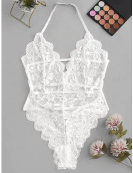 Scalloped Laddering Strappy Lace Teddy   White S by Zaful