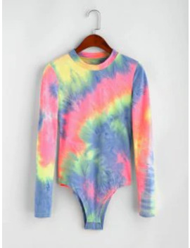 Popular Tie Dye High Cut Long Sleeves Bodysuit   Multi S by Zaful
