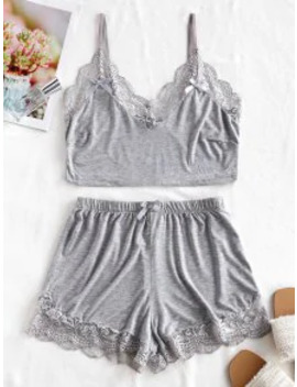 Popular Sale Lace Trim Short Pajama Set   Gray Cloud L by Zaful