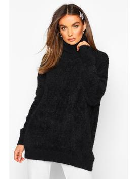 Oversized Fluffy Feather Knit Jumper by Boohoo