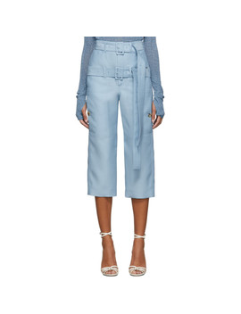 Blue Cropped Double Belt Trousers by Lanvin