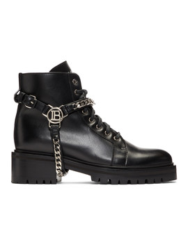 Black Silver B Harness Ranger Boots by Balmain