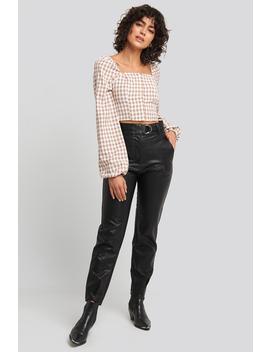 Buckle Belt Detailed Pu Pants Black by Na Kd Trend
