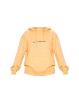 Prettylittlething Tangerine Embroidered Oversized Hoodie by Prettylittlething