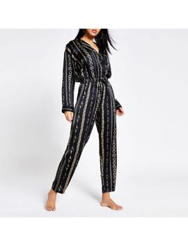 Black Chain Printed Satin Pyjama Jumpsuit by River Island