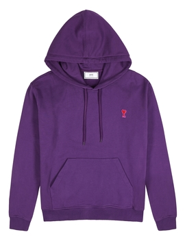 Purple Embroidered Logo Cotton Sweatshirt by Ami