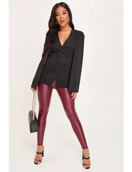 Wine Wet Look High Waist Leggings by I Saw It First
