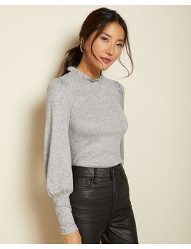Puff Sleeve T Shirt With Frilled Neck by Rw & Co