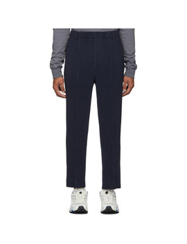 Navy Light Pleated Trousers by Homme PlissÉ Issey Miyake