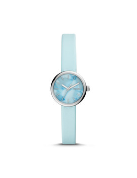 Hutton Mini Three Hand Aqua Leather Watch by Fossil