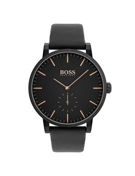 Black Plated Stainless Steel Watch With Black Leather Strap Black Plated Stainless Steel Watch With Black Leather Strap by Boss