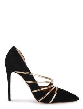 Minou 105 Black Suede Pumps by Aquazzura
