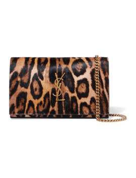 Monogramme Leopard Print Calf Hair Shoulder Bag by Saint Laurent