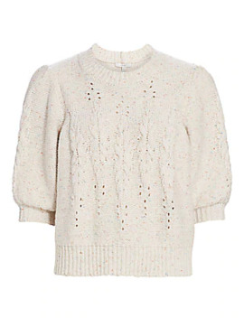 Joza Cable Knit Puff Sleeve Crop Sweater by Joie
