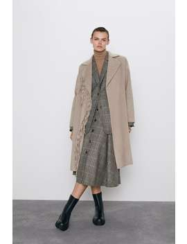 Fringed Coat With Belt by Zara